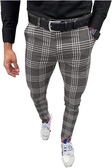 N P Mens Casual Pantalones Cuadros Gris Mediados Cintura Hombres Chinos Pantalones Skinny Muti Color Tretch Pantalones Slim Fit Amazon Es Ropa Y Accesorios