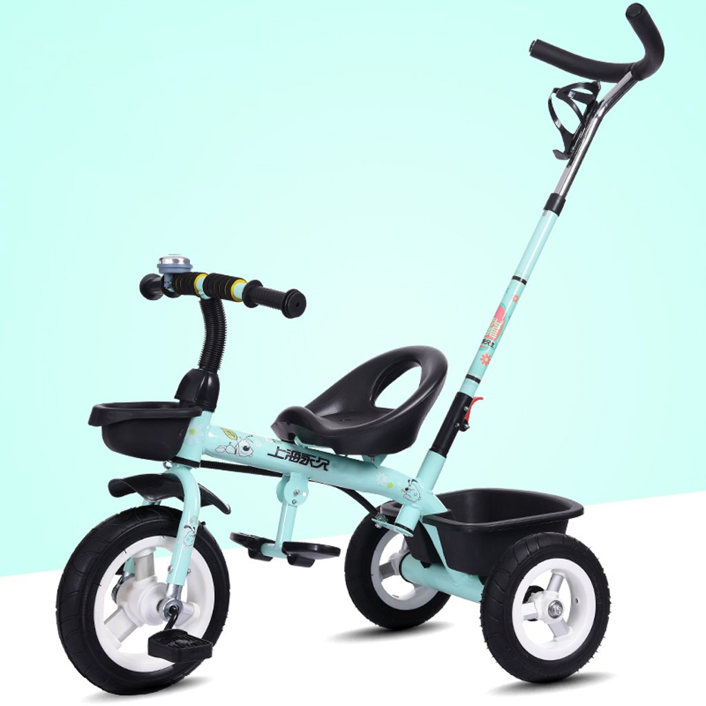 Kinder Fahrrad, Dreirad, 1-6 Jahre alt, Kinderwagen, mit Hand Push Rod Blau