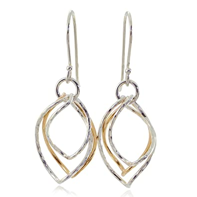 Women's Two Tone Twisted 925 Sterling Silver and 14k Gold-Filled Long Dangle Earrings HTTXbBb