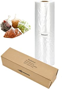 Immuson Food Storage Bags, 12 x 20 Plastic Produce Bag on a Roll Fruits, Vegetable, Bread, Food Storage Clear Bags, 350 Bags