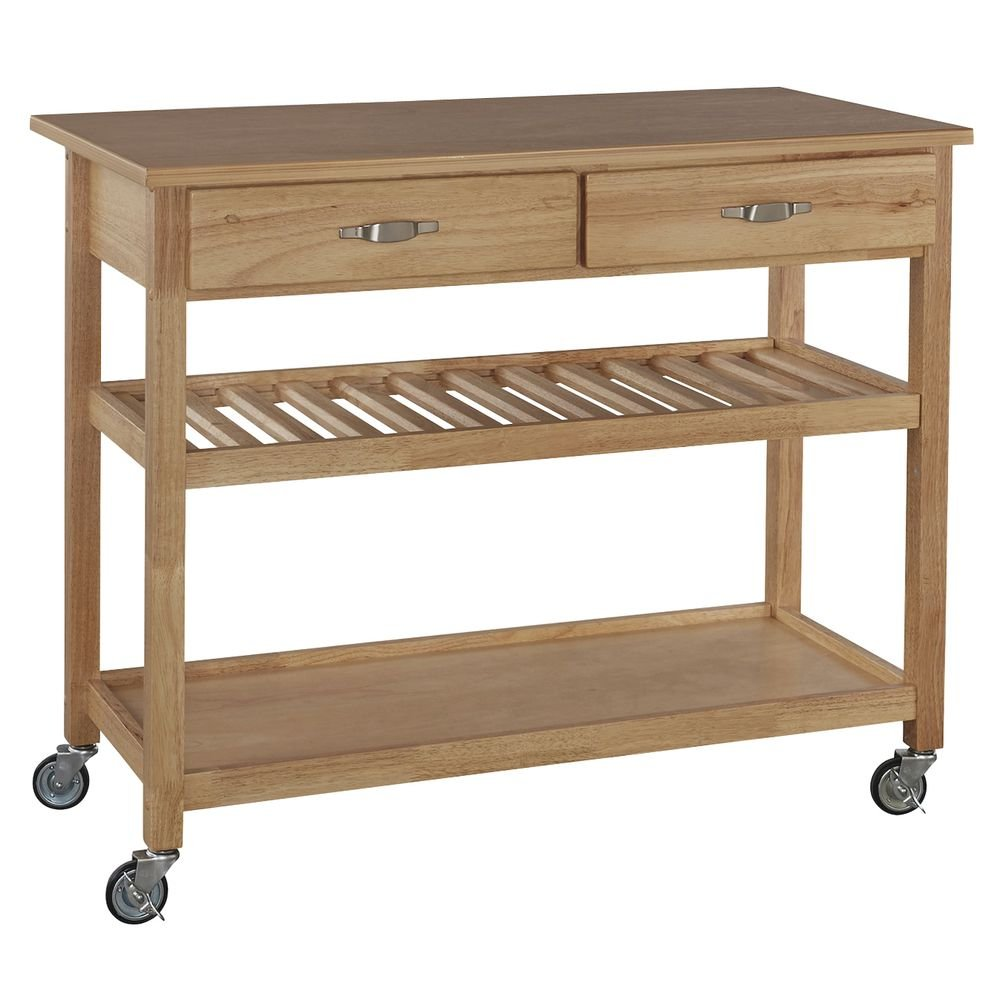 Wood Serving Cart With Natural Wood Top 46''L x 19''D x 36''H - HUB-76440