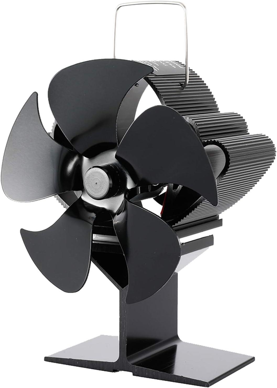 Ventilador De Estufa De 5 Aspas Accionado Por Calor, Circulación De Aire Caliente Que Ahorra Combustible, Ventilador Autoalimentado De Manera Eficiente, Para Chimenea De Leña Para El Hogar (negro)