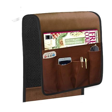 Space Saver - Organizador de reposabrazos para sofá de gamuza, impermeable, se adapta a teléfono, libro, revistas, soporte remoto de TV 13 * 35 inch ...