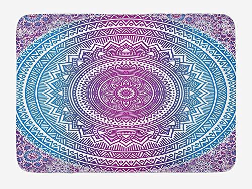 Ashley Lauren Mia Blue and Pink Bath Mat, Ombre Mandala Wonderful Fresh Flower Star Medallion Pattern Gorgeous Ethnic Identity Style Bohemian, Plush Bathroom Novel Classic Adornment Mat with Slip Resi (Mia Medallion)
