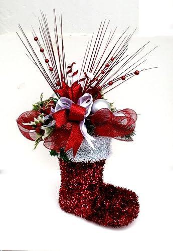 christmas santa boot table centerpiece candy cane arrangement holiday table dcor christmas arrangement