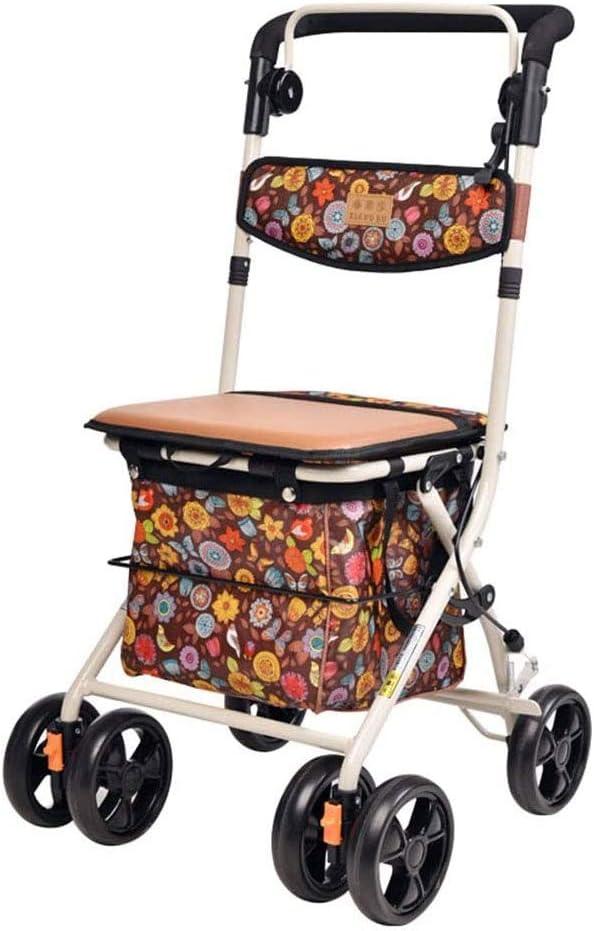 Andador con asiento, andador plegable de acero duradero, andador plegable, fácil de empujar, para ancianos