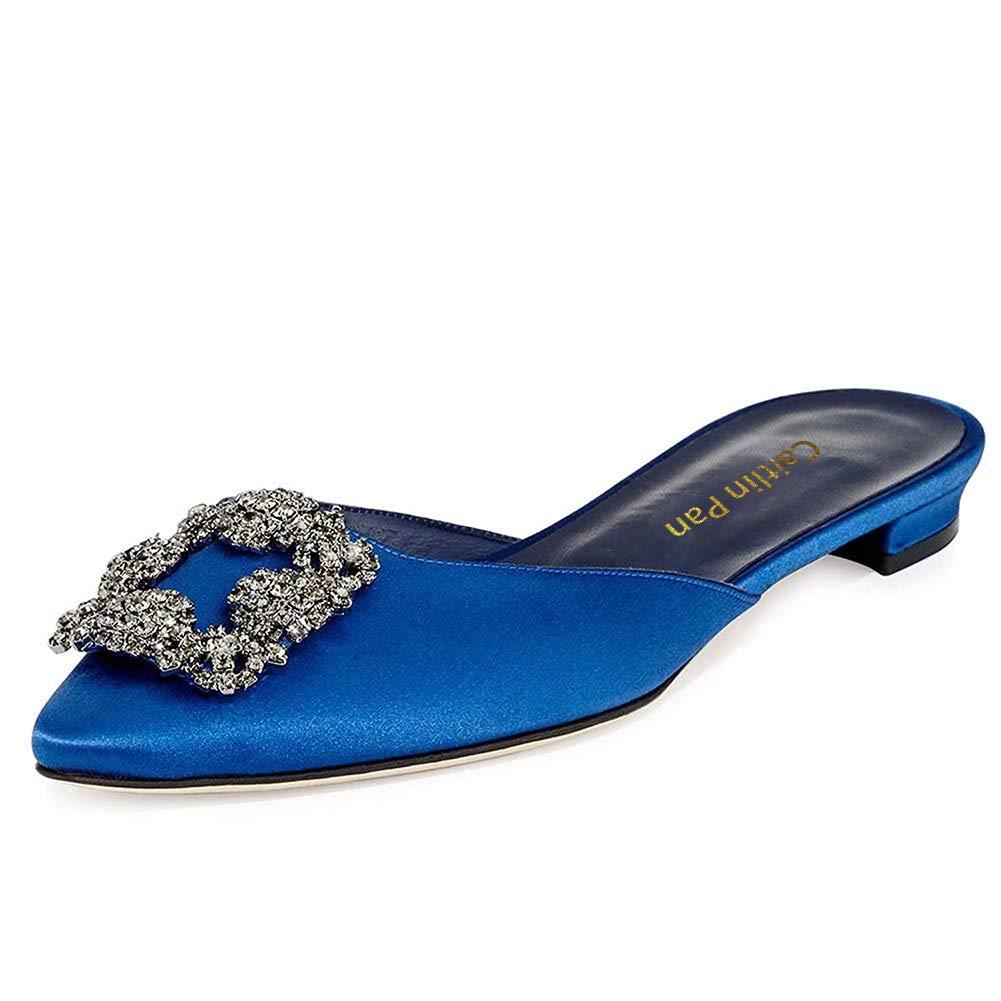 Caitlin Pan Damen Klassische High Heels Satin Spitzschuh Diamant Stilettos Slip on Pumps Blau Slipper-Blau Insole