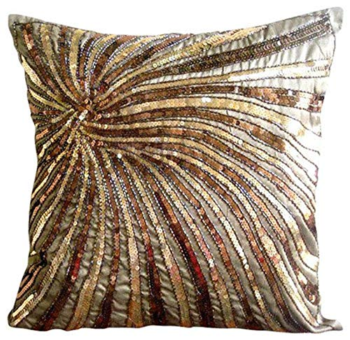 The HomeCentric Handmade Brown Cushion Covers, Sequins & Beaded Spiral Glitter Pillows Cover, 20