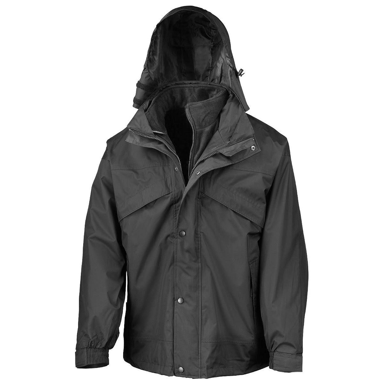 Result R068X 3 In 1 Fleece Lined Zip & Clip Waterproof Jacket Black/Black 3XL