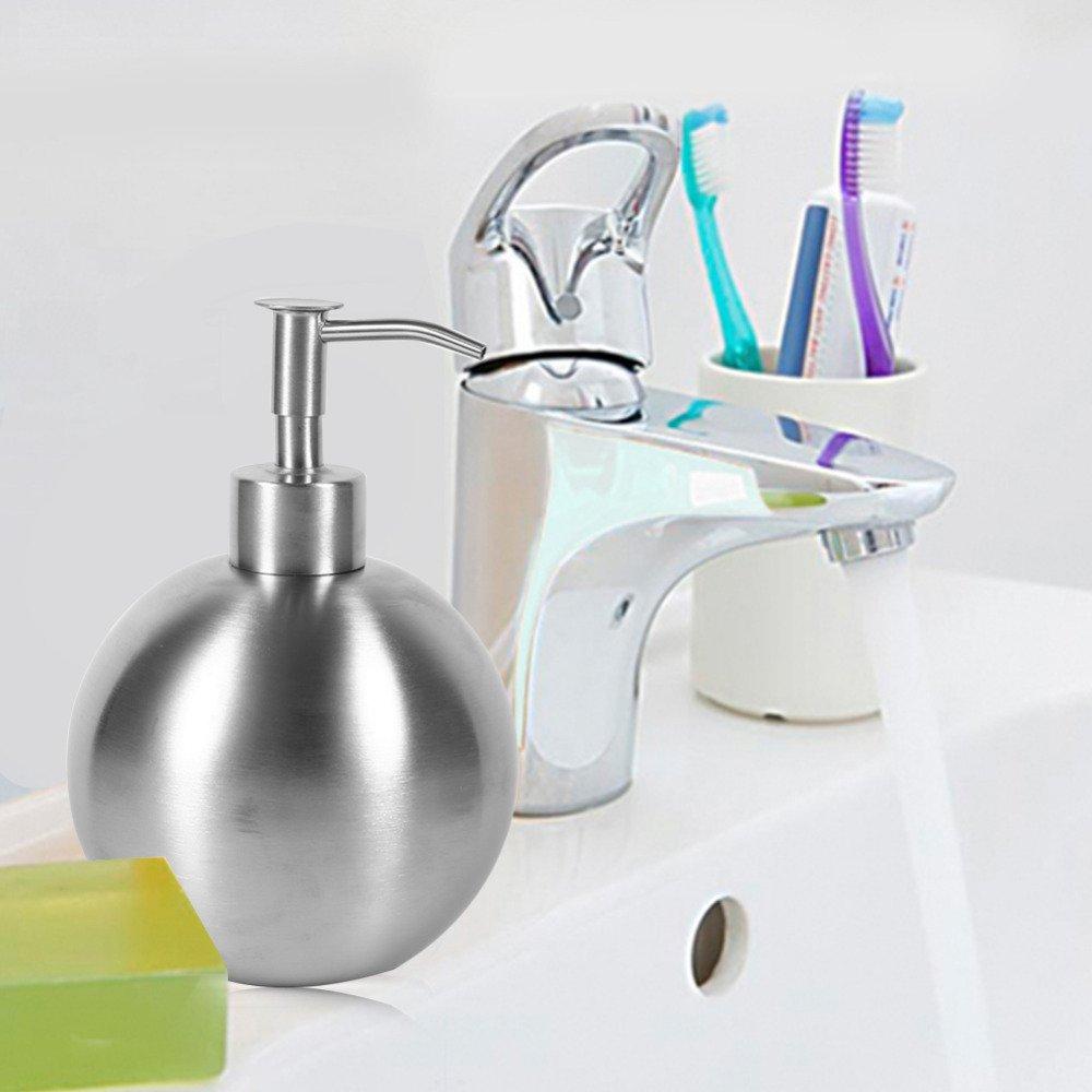 Gold Happy 500ml Ball Stainless Steel Kitchen Bathroom Hand Pump Liquid Soap Dispenser Lotion Detergent Bottle
