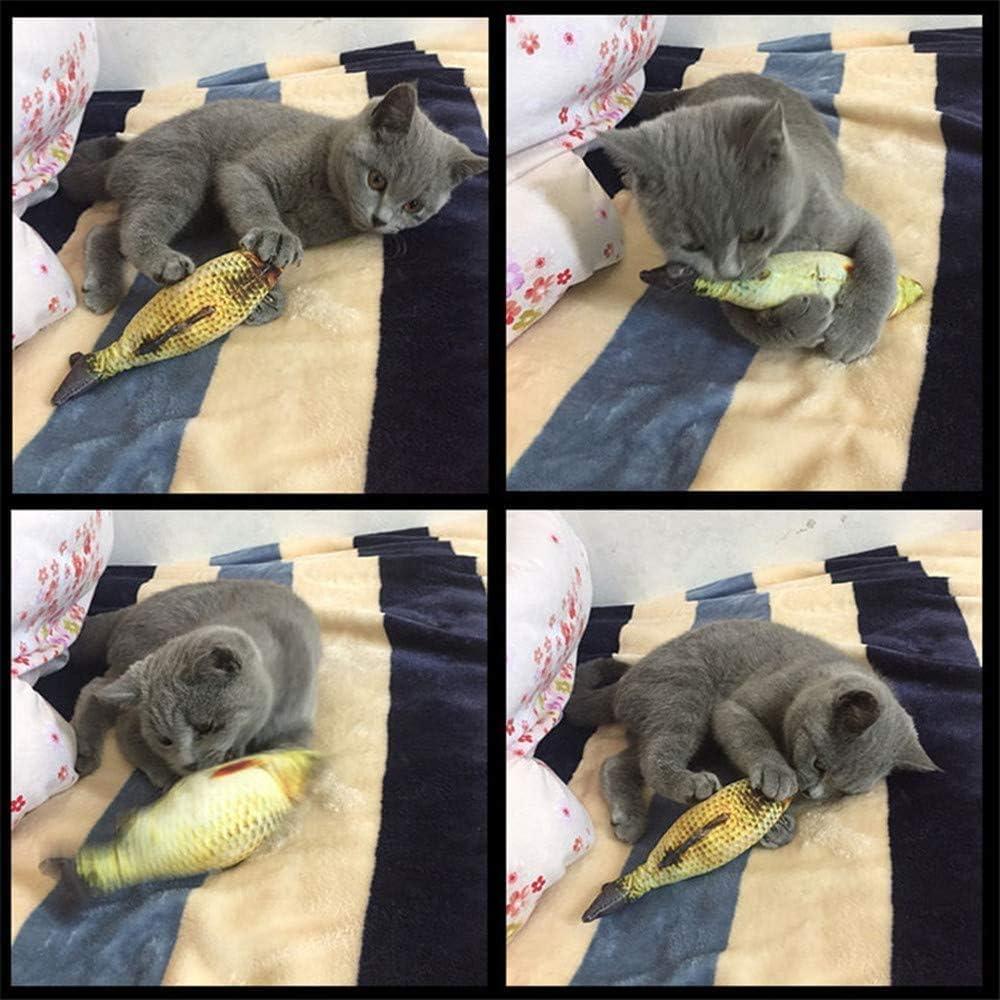 elloLife Juguetes con hierba gatera Simulaci/ón Realista de Felpa Pez mu/ñeca el/éctrica Suministros interactivos Divertidos para Masticar Mascotas Flop de Gato//Gatito Gato de Juguete Juguetes Catnip