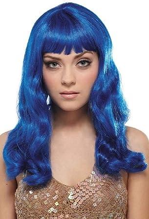 Katy Electric Blue Long Hair Wig Fancy Dress Costume Wig