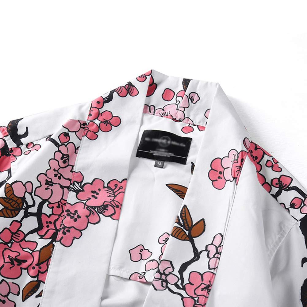 Hombre Mujer Camisa Kimono Estilo Japon/és Estampado Holgado Manga 3//4 Cloak Cardigan
