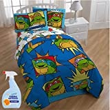 NEW! Nickelodeon Teenage Mutant Ninja Turtles Team Turtles 4-Piece Twin Kids Bedding Comforter Set with Fabric Refresher