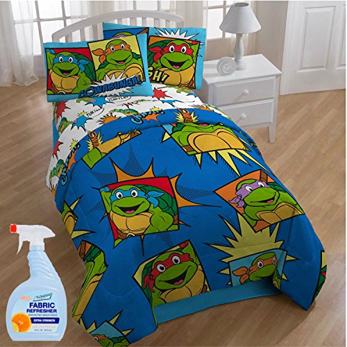NEW! Nickelodeon Teenage Mutant Ninja Turtles Team Turtles 4-Piece Twin Kids Bedding Comforter Set with Fabric Refresher by Nickelodéon