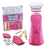 #6: JaxoJoy Complete Kids Cooking and Baking set - 11 Pcs Includes Apron for Little Girls, Chef Hat, Mitt & Utensil for Toddler Dress Up Chef Costume Career Role Play for 3 Year Old Girls and Up