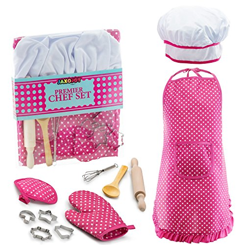 Cooking Kids Aprons (JaxoJoy Complete Kids Cooking and Baking set - 11 Pcs Includes Apron for Little Girls, Chef Hat, Mitt & Utensil for Toddler Dress Up Chef Costume Career Role Play for 3 Year Old Girls and Up)