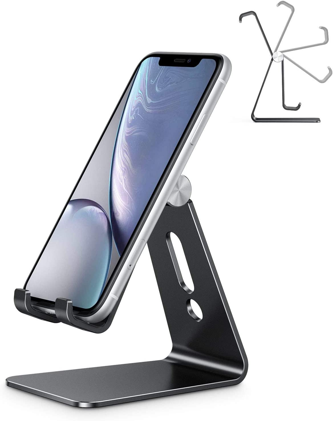Adjustable Cell Phone Stand, OMOTON C2 Aluminum Desktop Phone Dock Holder Compatible with iPhone 11 Pro, SE, XR, 8 Plus 7 6, Samsung Galaxy, Google Pixel and More, Black