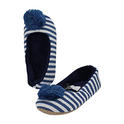 Midwest CBK Woman's Blue Striped Slipper With Poms (Large)