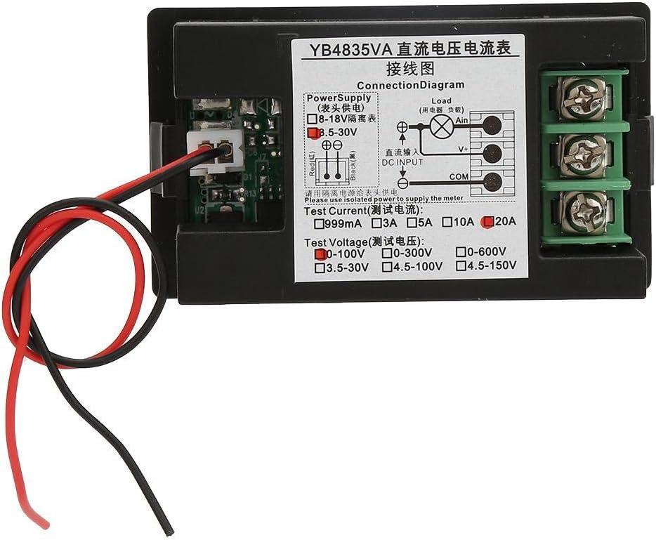YB4835VA Dual Display Integrierte Spannung Amperemeter Panel Amp Volt Gauge DC 0~100 V 20A Voltmeter Amperemeter