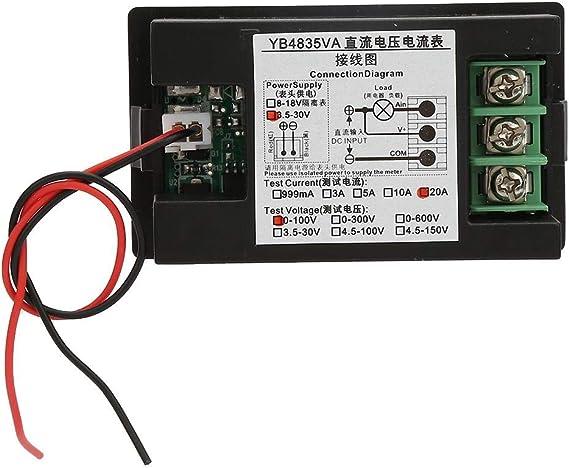 YB4835VA DC0~100V 20A Dual Display Integrated Voltage Ampere Meter Tester Gauge