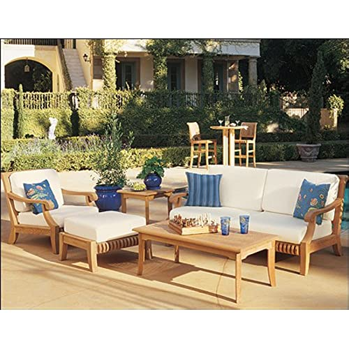 New Luxurious 5 Piece Teak Sofa Set - 1 Sofa, 1 Lounge Chair, 1 Ottoman, 1  Coffee Table And 1 Side Table -Furniture only --Giva Collection #WHSSGV3 - Teak Outdoor Furniture: Amazon.com