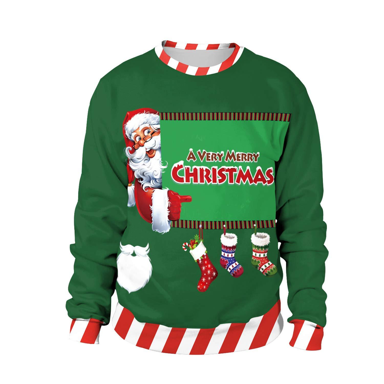 Mrsrui Women Casual Long Sleeve Hoodie Pullover Sweatshirt - 3D Graphic Christmas Printed by Mrsrui
