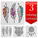 Coloring Canvases for Adults, 12x12 inches, Set of 3 Stretched Canvases, Best gift for coloring book lovers (Tribal)