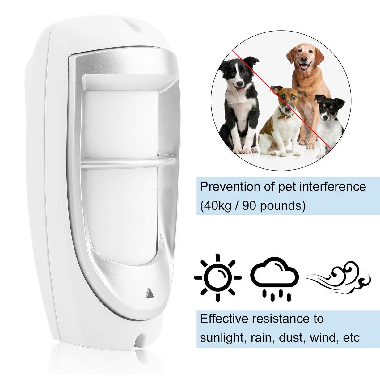 Detector PIR DG-85, inmunidad a mascotas a prueba de agua IP45 Detector PIR dual para movimiento digital en exteriores Sistema de sensor de filtración ...