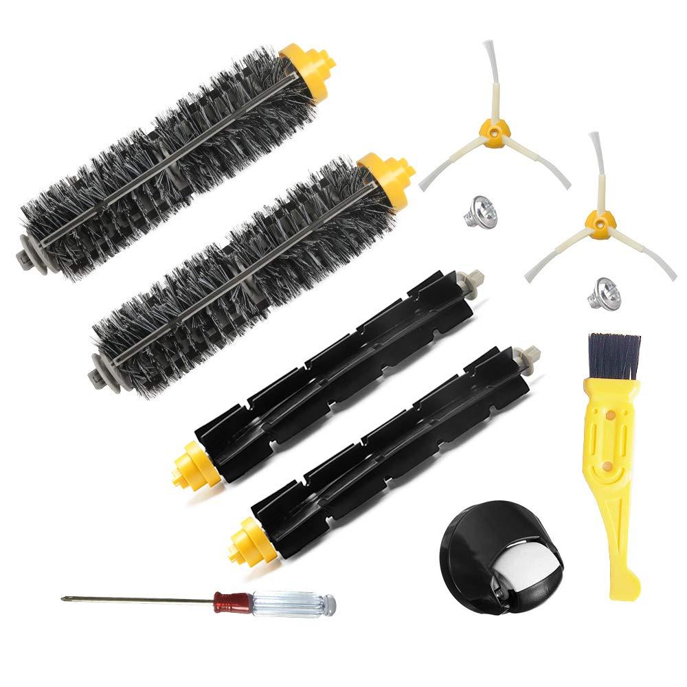 JUMBO FILTER Replenishment Kit for iRobot Roomba 600 Series Vacuum Cleaner Accessories for Roomba 620 630 650 660 680 Vacuum Filter & Bristle & Flexible Beater Brush & Side Brush 10Pcs