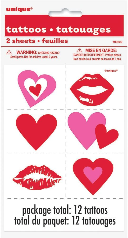 Lips & Hearts Valentine's Day Temporary Tattoos, Party Accessory, 12 Ct.