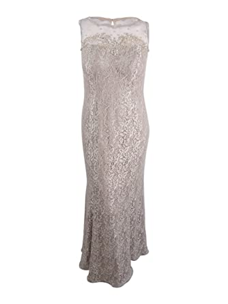 Xscape Womens Plus Lace Embellished Evening Dress Beige 16W at Amazon Womens Clothing store: