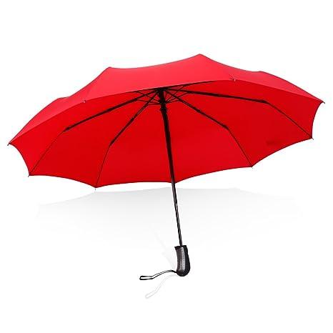 Saiveina Paraguas Automático Triple Plegble Con 9 Variilas,impermeable (Rojo)