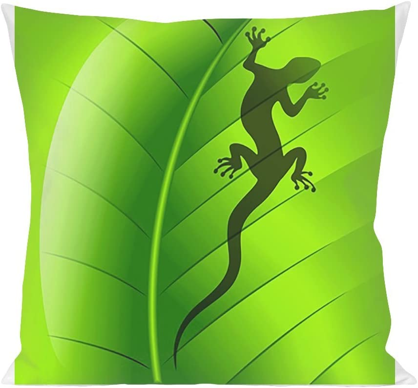 Lizard Gecko Shape On Green Leef Pillow