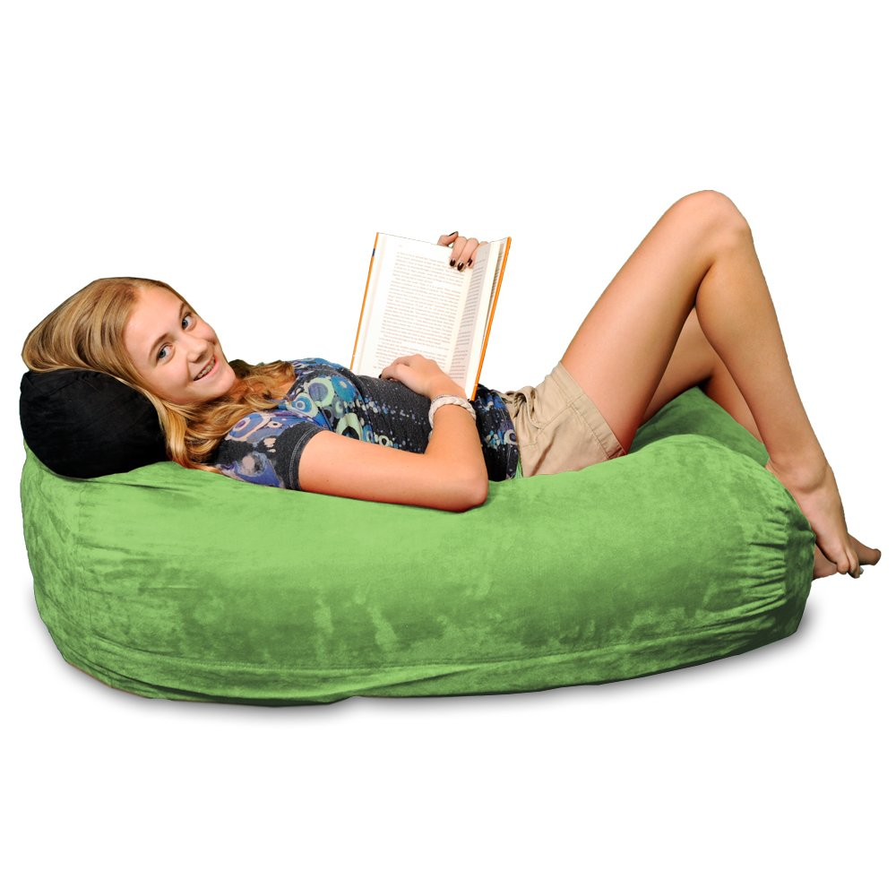Chill Sack Bean Bag Chair: Large 4' Memory Foam Furniture Bag and Large Lounger - Big Sofa with Soft Micro Fiber Cover - Lime