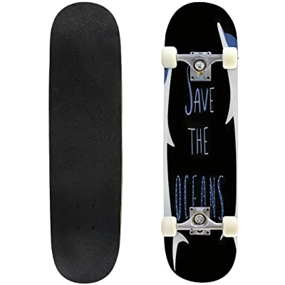 Classic Concave Skateboard Save The Oceans Dolphins Illustration Vector Longboard Maple Deck Extreme Sports and Outdoors Double Kick Trick for Beginners and Professionals : Sports & Outdoors