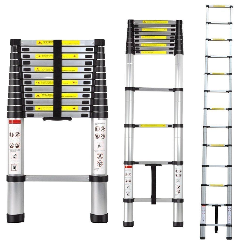 Extendable Ladder - Heavy Duty Aluminum -Telescopic Extension Ladder -Non Slip - 12.5 foot - Non Slip Feet - 330 Lbs - By Mix Maxx