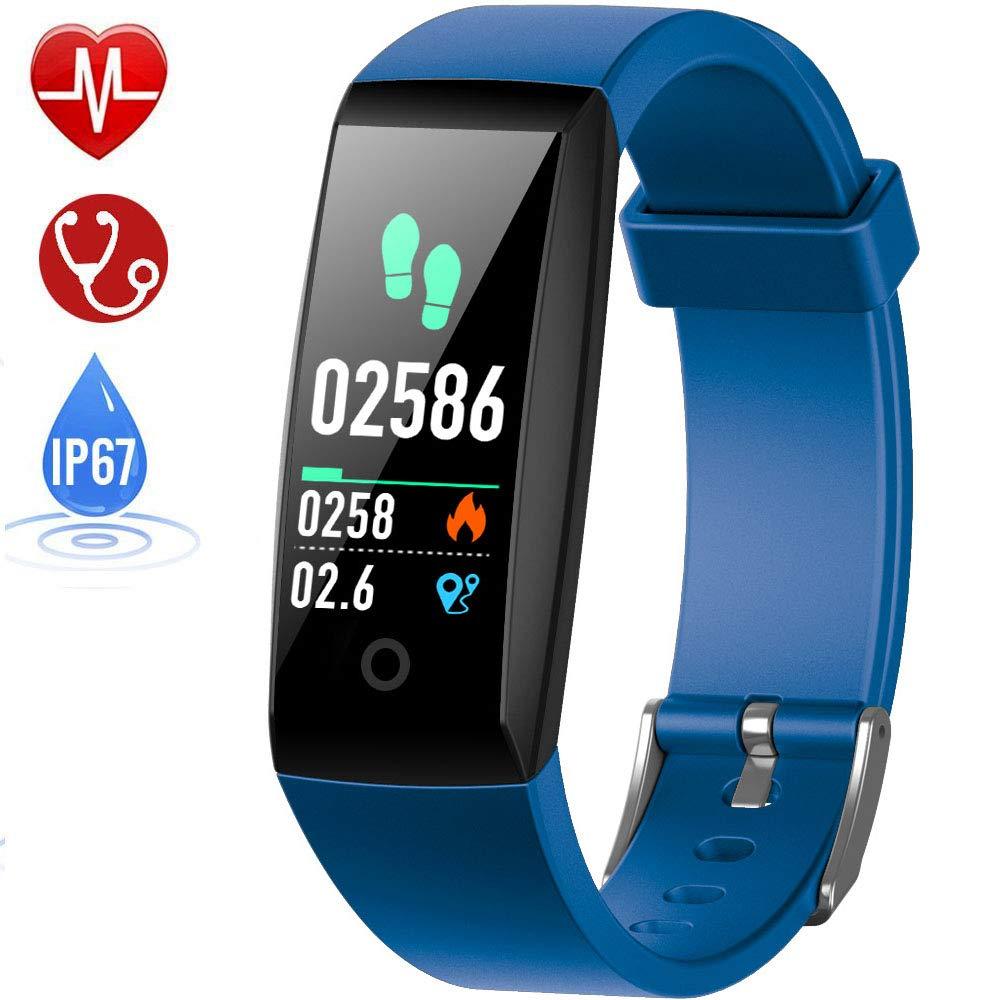 HETP Fitness Armband mit Pulsmesser, Fitness Tracker Uhr Wasserdicht IP67 Blutdruckmesser Schrittzä hler Uhr Stoppuhr Sport GPS Aktivitä tstracker Anruf SMS fü r Kinder Damen Mä nner FT-W8-blue