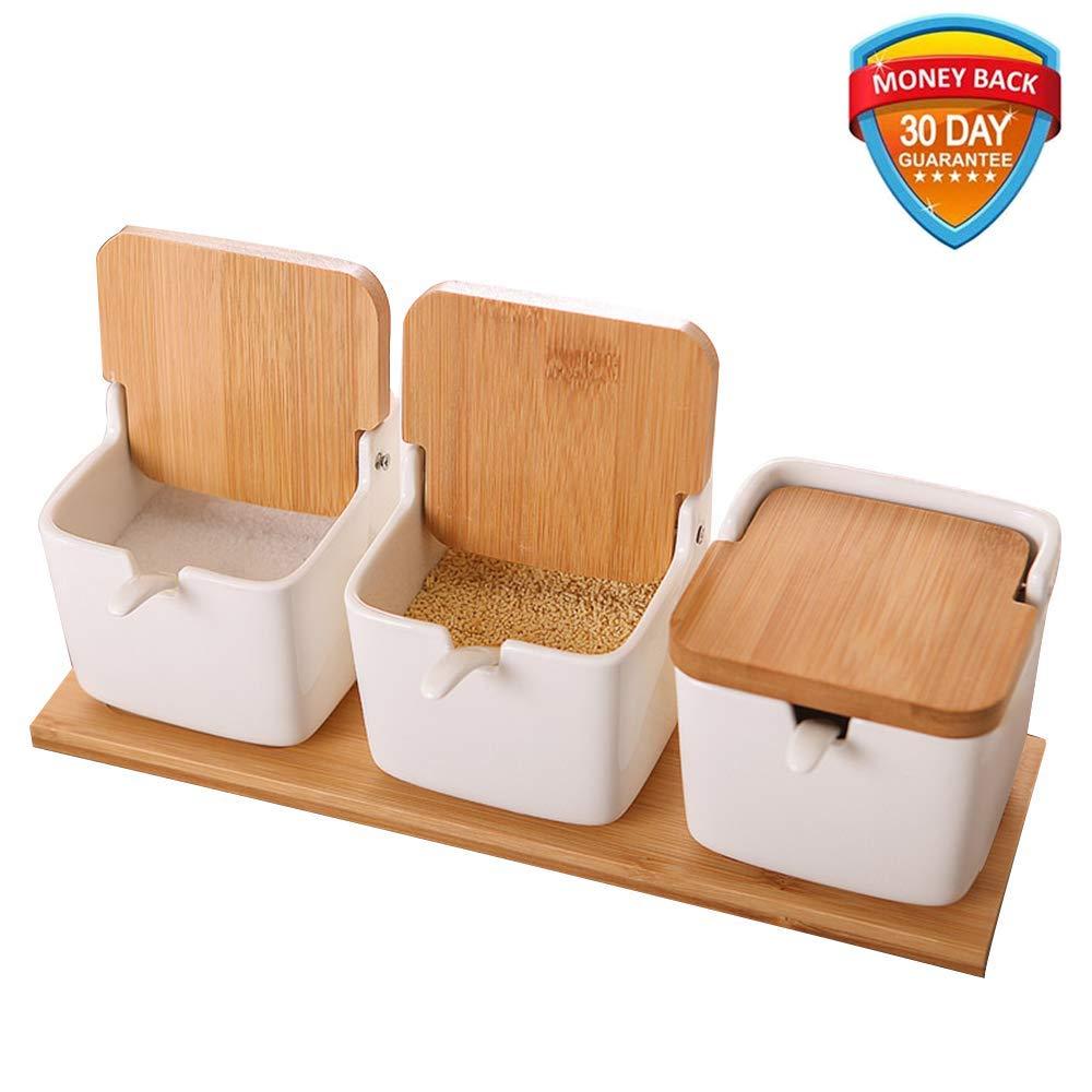 Ceramic Sugar Bowls,Vermida Set of 3 Porcelain Sugar Bowl with Lids and Spoons,Salt Container with Lid and Bamboo Base,Sugar Condiment Containers for Sugar Bowl Serving Tea,Coffee,Spice,Salt(White)