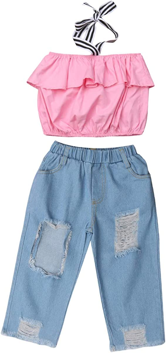 Destroyed Ripped Jeans 2pcs Clothing Outfit Set Kid Baby Girls Ruffle Tops