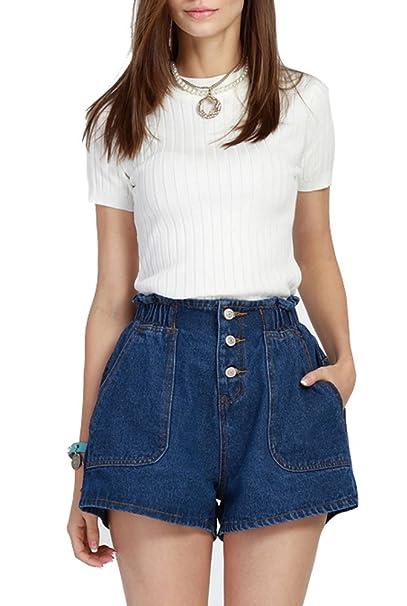 e1141ee6b411b 2018 Casual Women Rose Embroidery High Waist Jeans Wash Denim Shorts Tassel  Hot Pants Ms Jean Shorts Hot Pants From Heyan0117