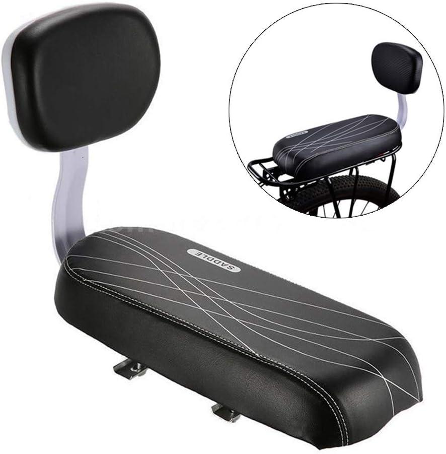 Shentesel Bicycle Faux Leather Sponge Soft Rear Bike Seat Saddle Pad Cushion with Backrest Black
