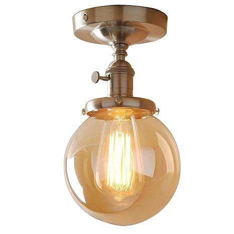Nostalgie - Lámpara de techo kupferfarbigen redondo globo ...