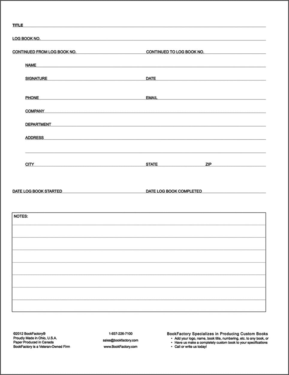 BookFactory/® Mitigation Log Book // Journal // Logbook Black Hardbound 8.5x11 Mitigation Log Book XLog-120-7CS-A-L-Black 120 Page