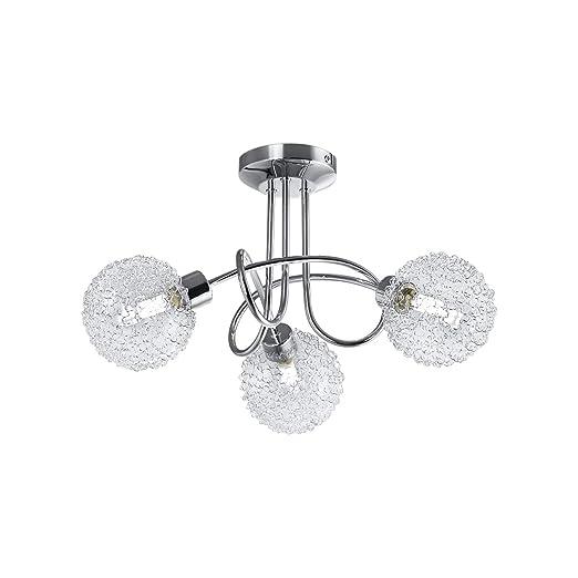 Bk Licht Plafonnier Led Rond 3 Spots Avec Globes En Cristal Ampoules G9 3 5w Fournies Luminaire Design Moderne éclairage Plafond Blanc Chaud