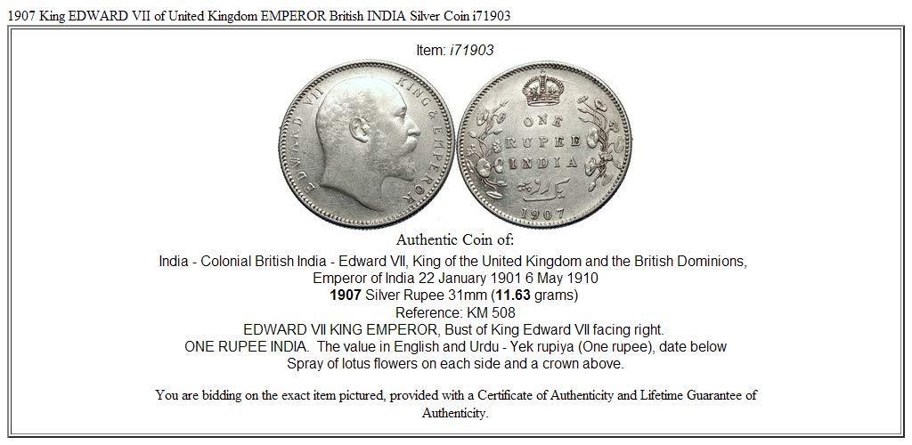 1907 Unknown 1907 King Edward Vii Of United Kingdom Emperor Br Coin