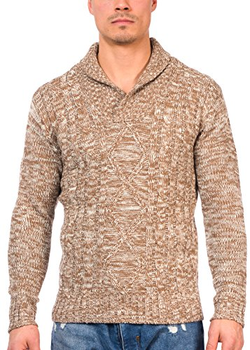 TR Fashion Men's Long Sleeve Shawl Collar Knit Pullover Sweater (Brown, XX-Large)
