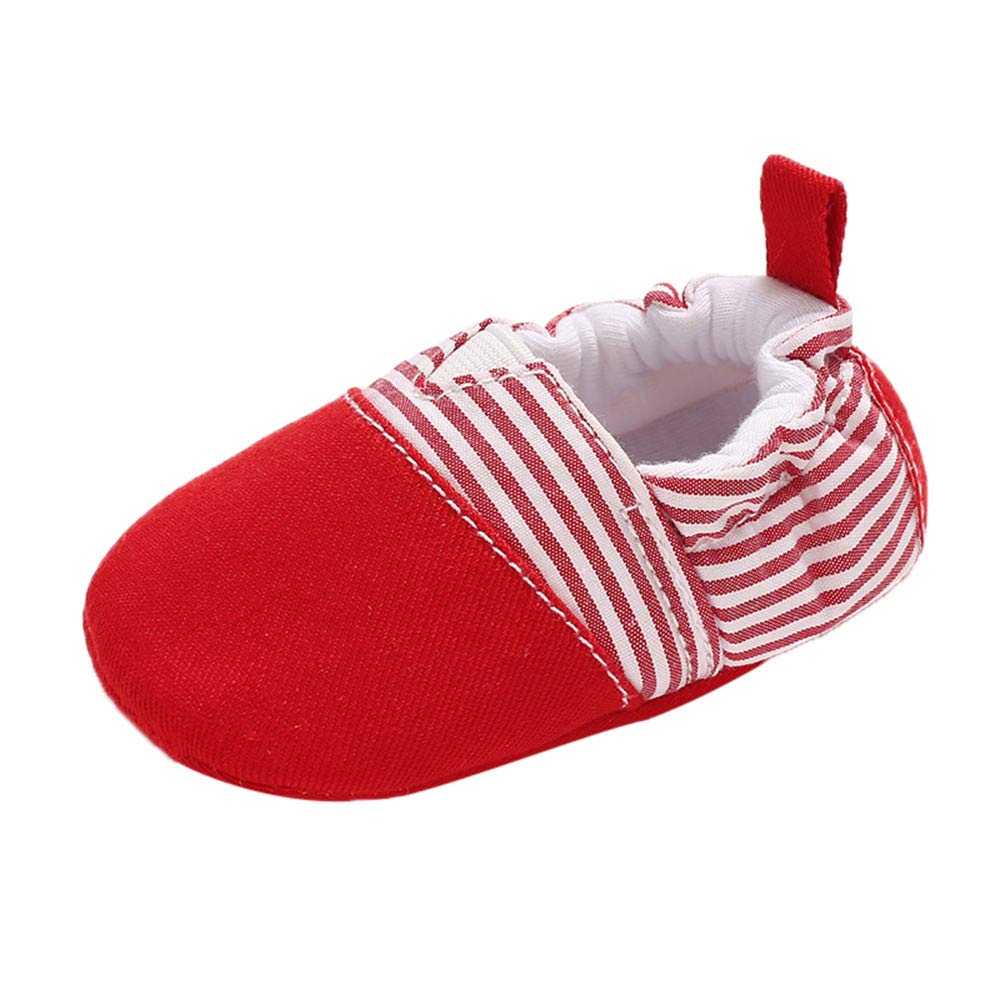 NUWFOR Baby Girl Soft Booties Snow Floor Shoes Stripe Splicing Prewalker Warm Shoes(Red,0~6 Month)