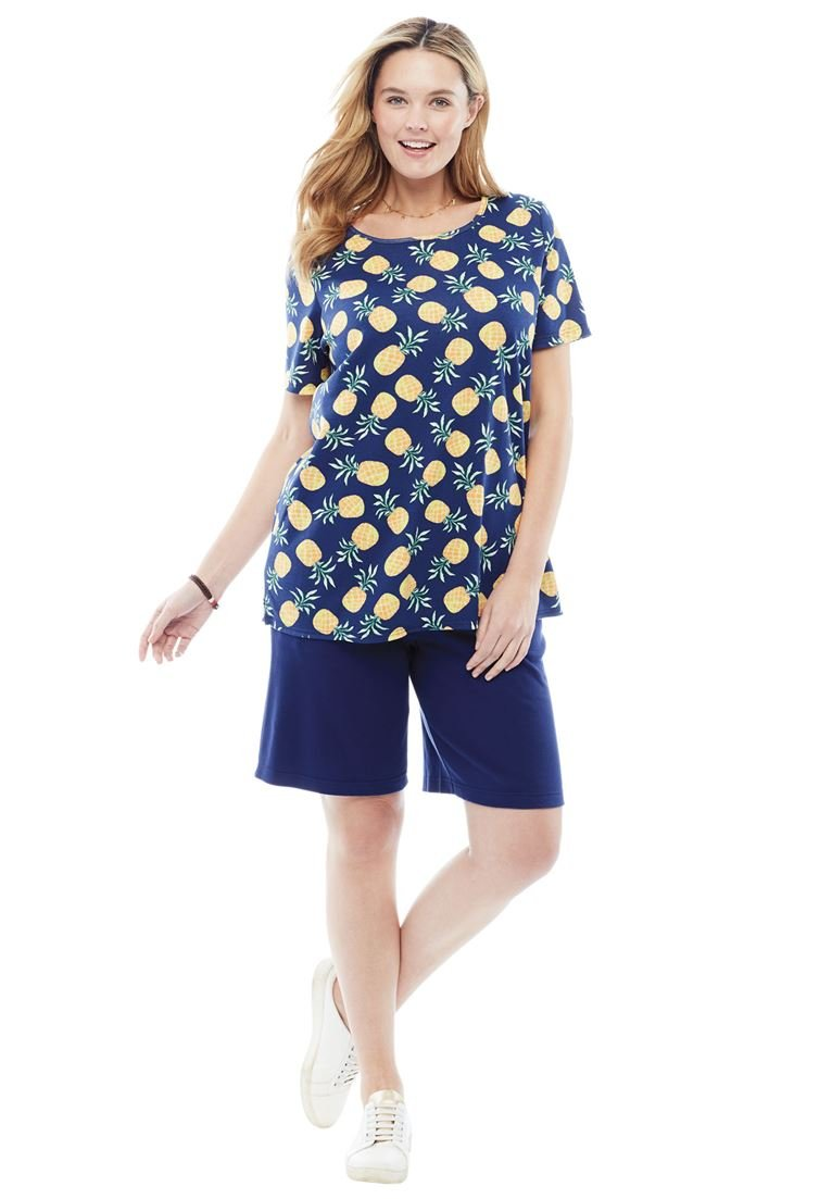 Women's Plus Size 2 Piece Shorts Set Evening Blue Pineapple,18/20