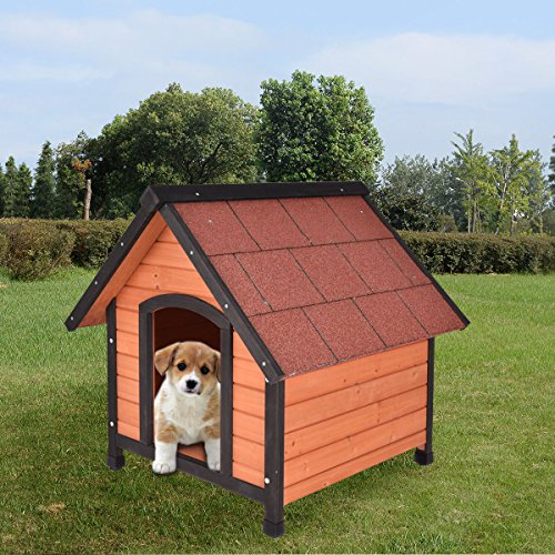 Tangkula Dog House Pet Outdoor Bed Wood Shelter Home